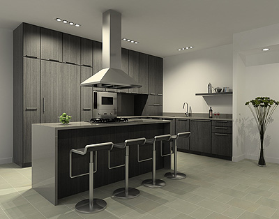 Sample-light-kitchen-with-gray-countertop-stools-and-aspirator-with-tiling-floor