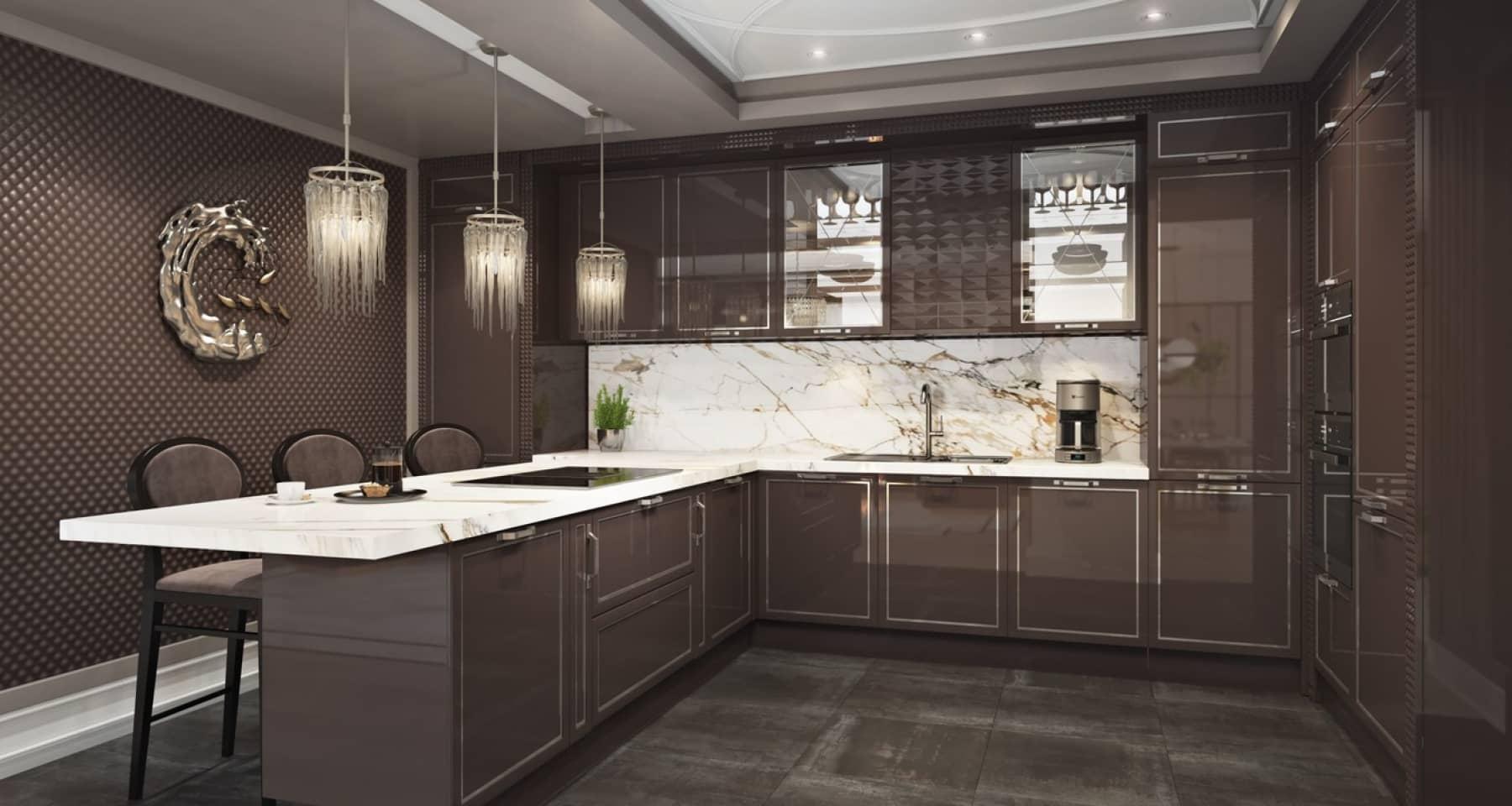 Меблировка дизайнерской кухни с глянцевыми фасадами