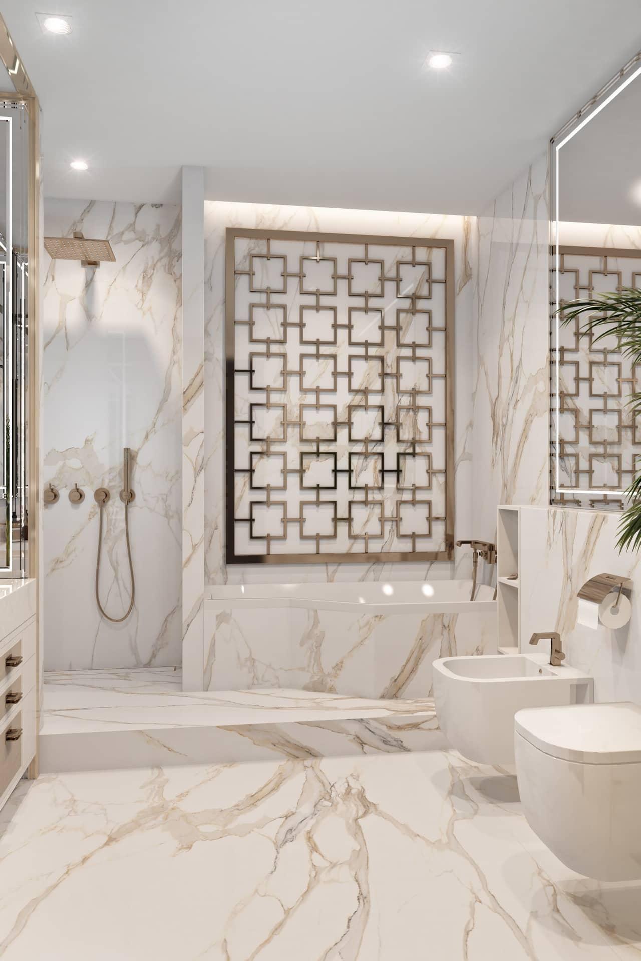 Стильный дизайн ванной комнаты с душевой