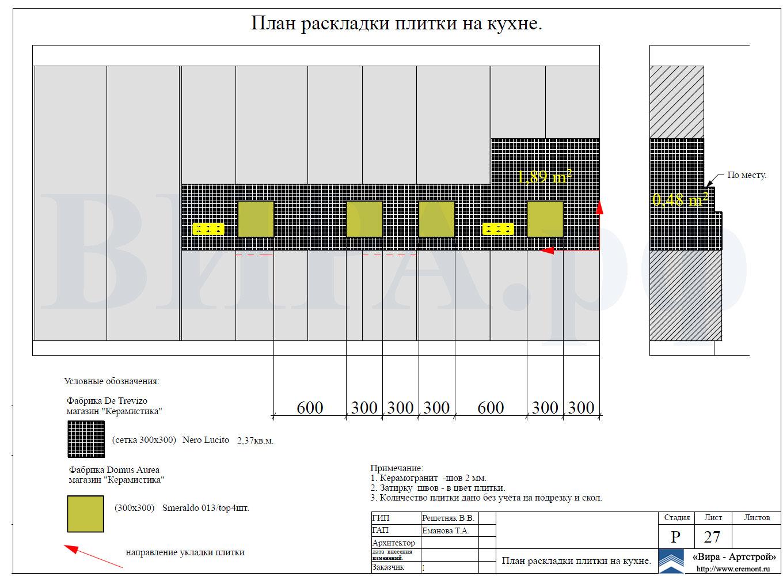 Схема раскладки плитки разного размера