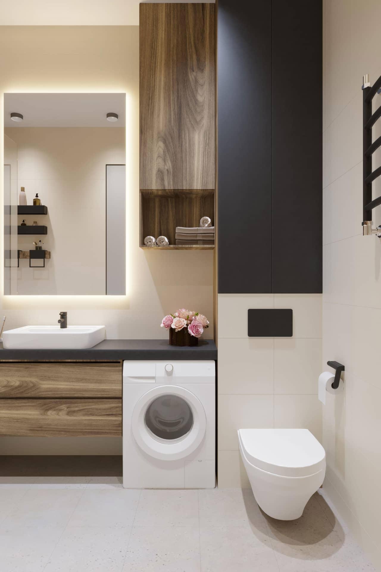 Дизайн маленькой ванной комнаты в светлых тонах