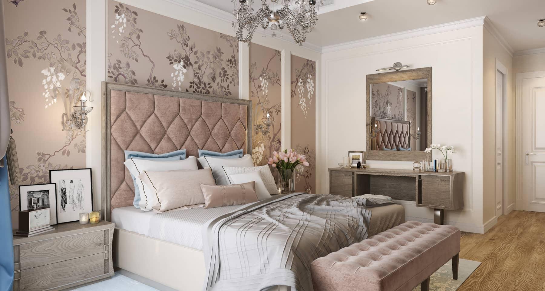 Интерьер неоклассической спальни в московской квартире