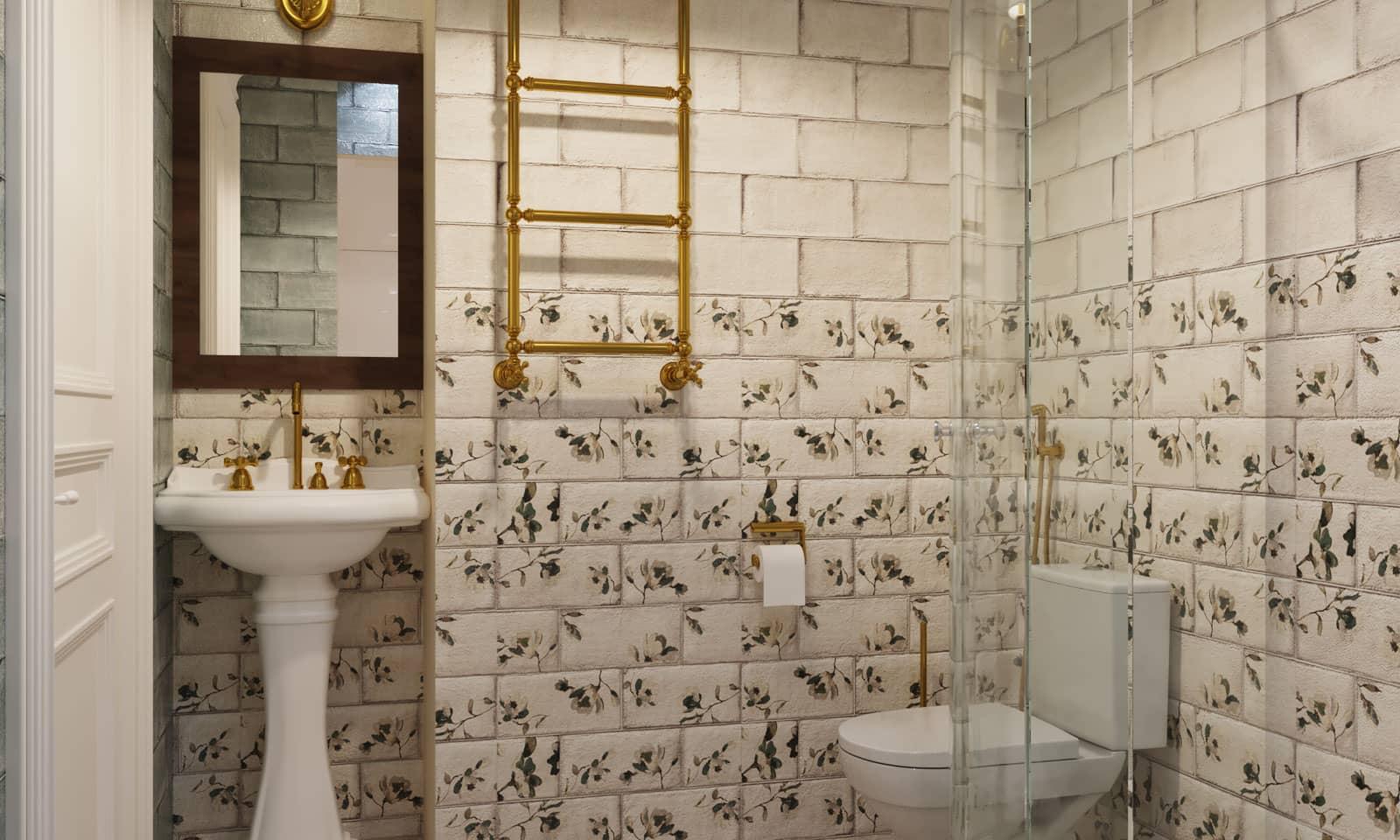 Дизайн ванной с душевой в квартире в Москве