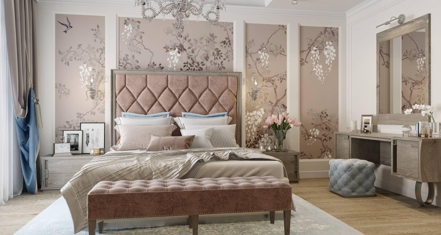 Неоклассическая спальня с цветочными узорами