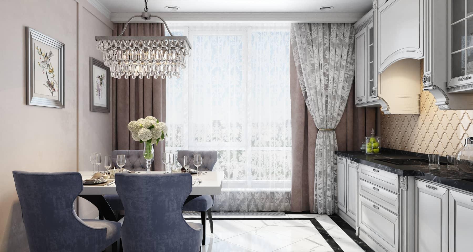 Дизайн-проект кухни-столовой в стиле неоклассика