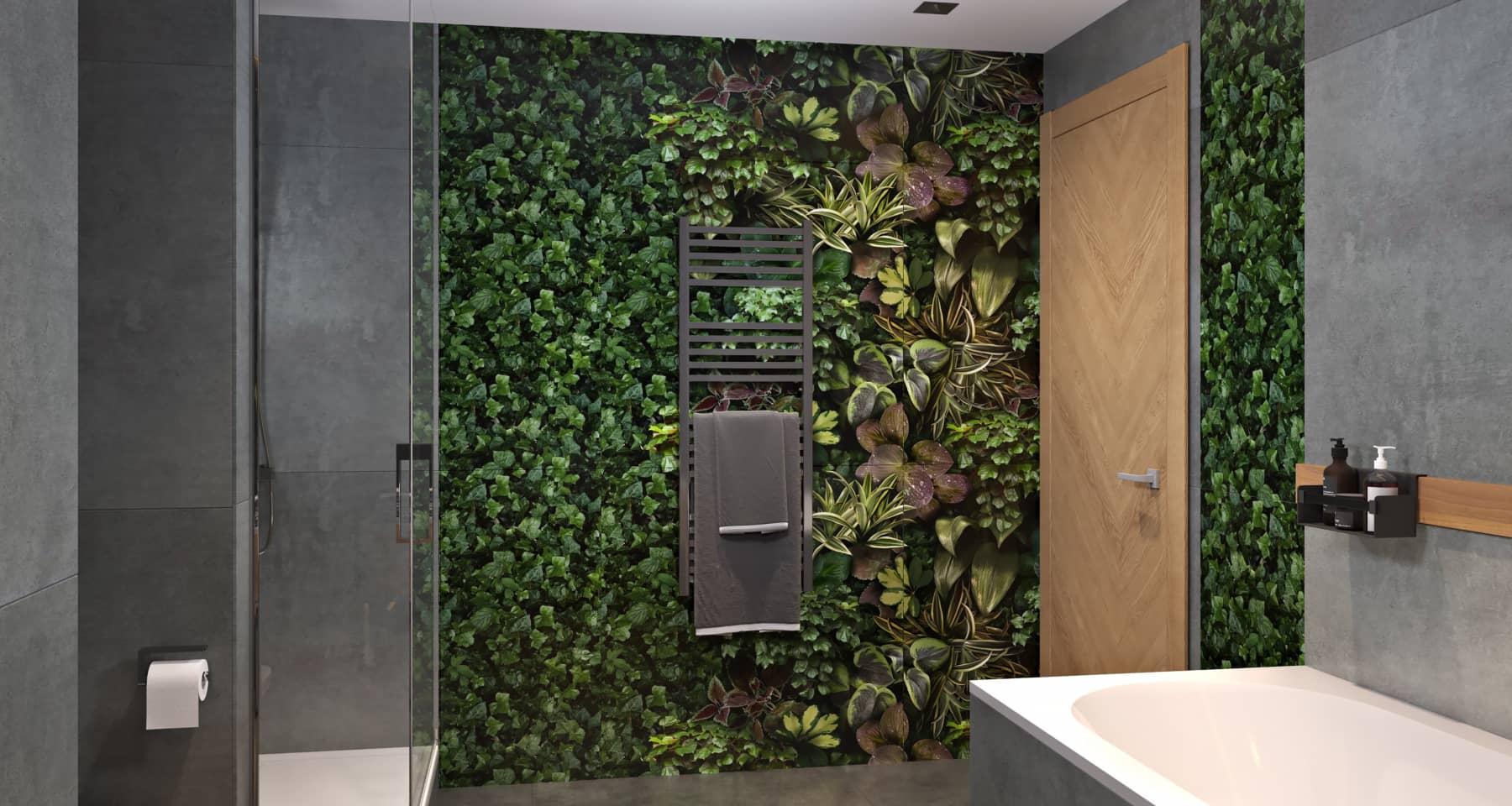 Плитка имитирующая зеленую стену в ванной