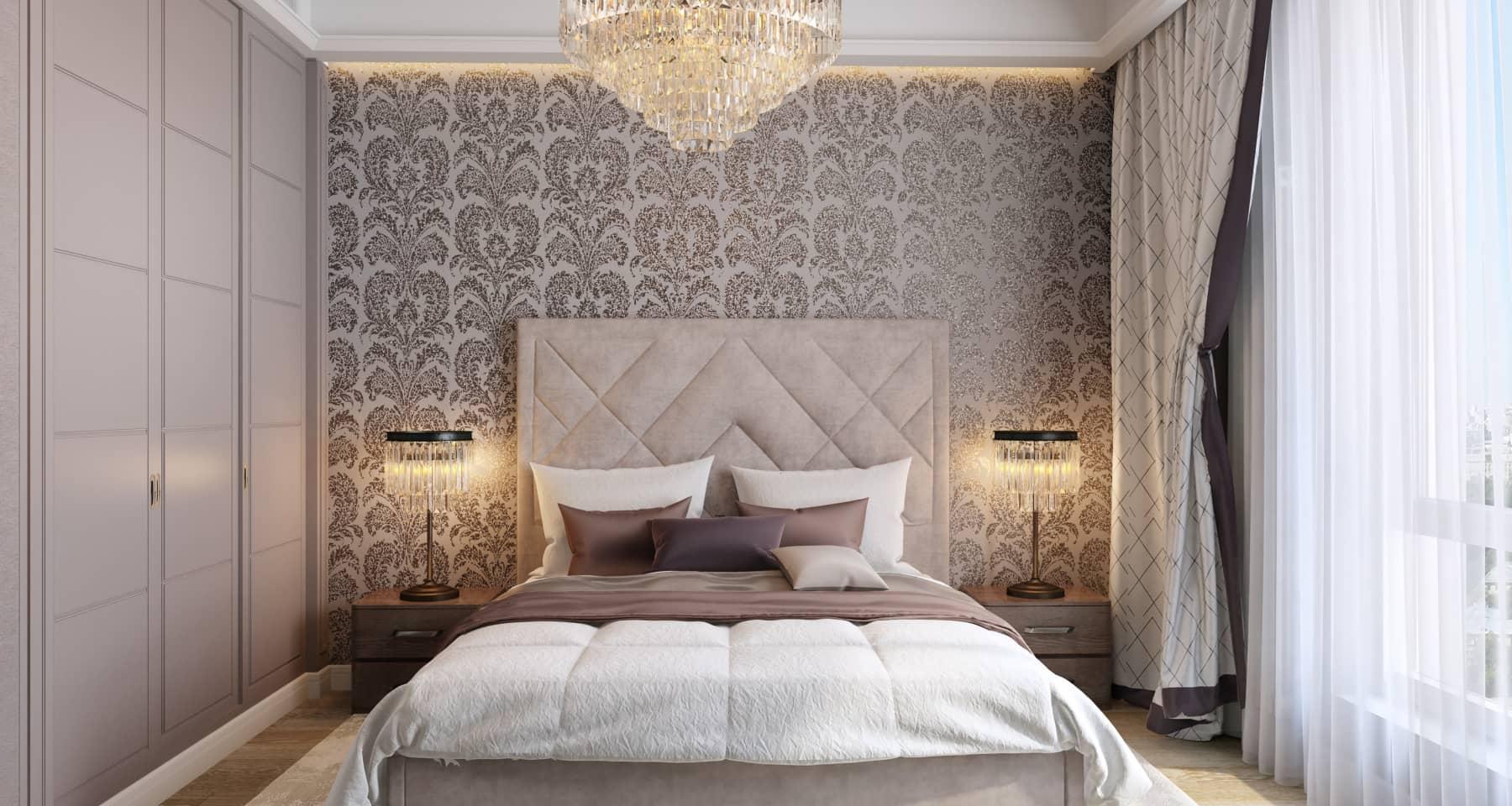 Дизайн-проект спальни в стиле неоклассика в квартире