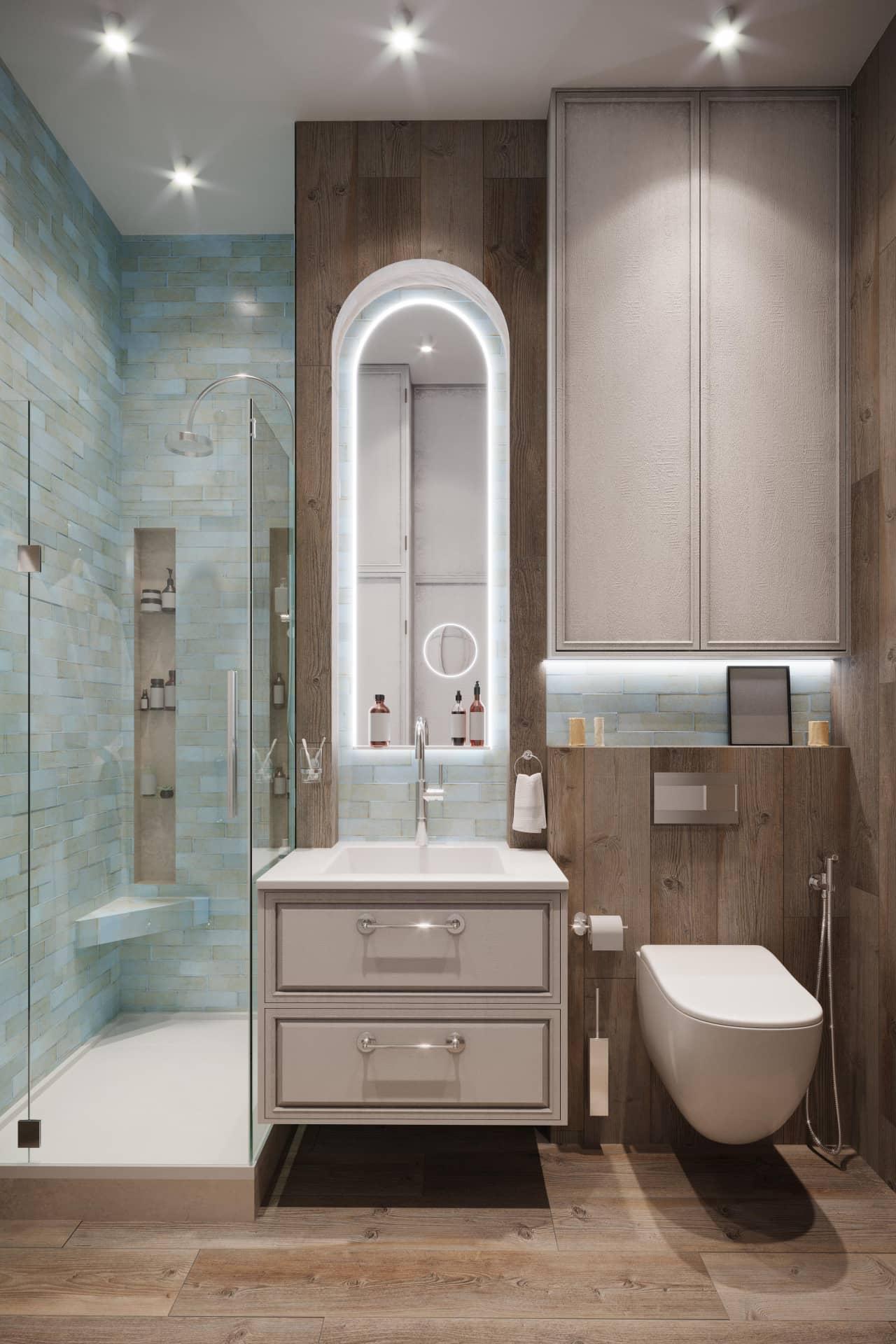 Дизайн маленькой ванной комнаты с бирюзовой плиткой