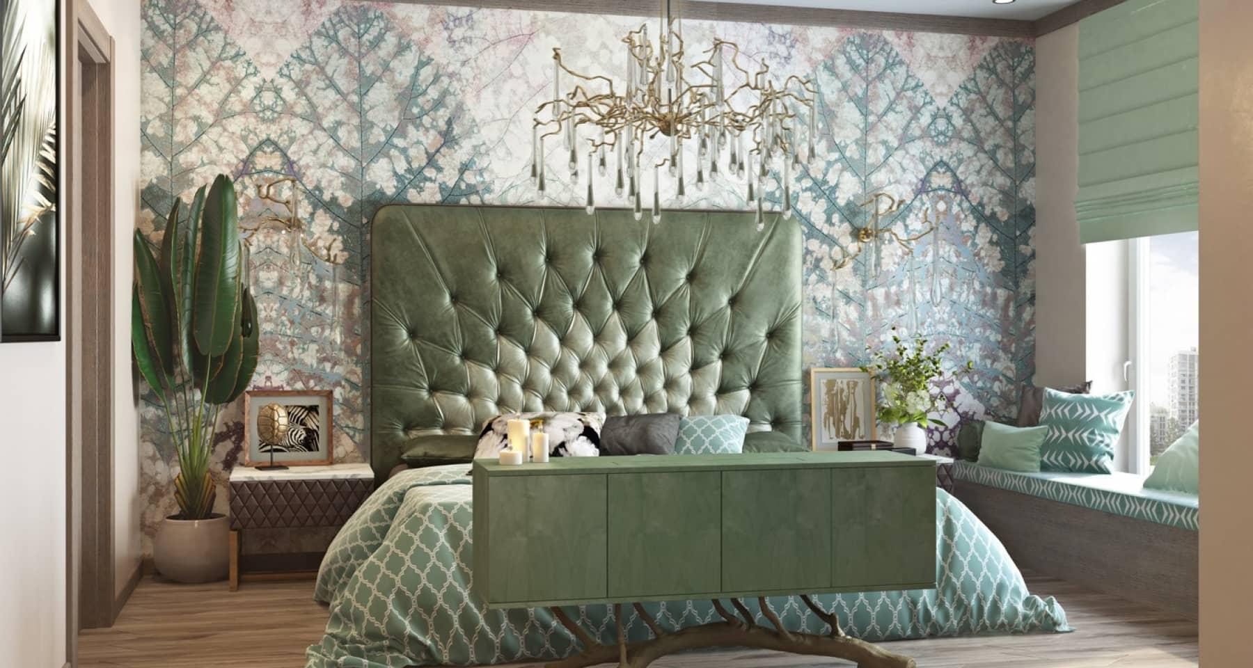 Дизайн зеленой спальни в стиле ар-деко