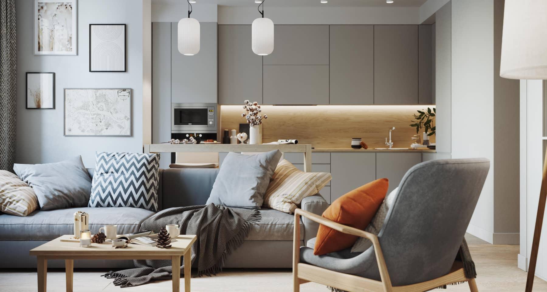 Дизайн двухкомнатной квартиры 60 кв. м