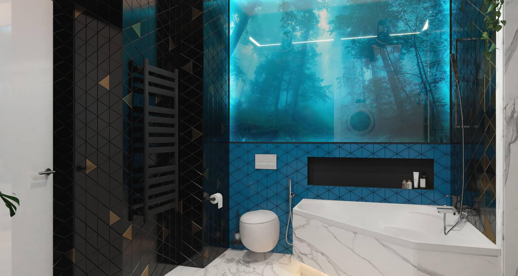 Идея оформления ванной с мозаикой в отделке