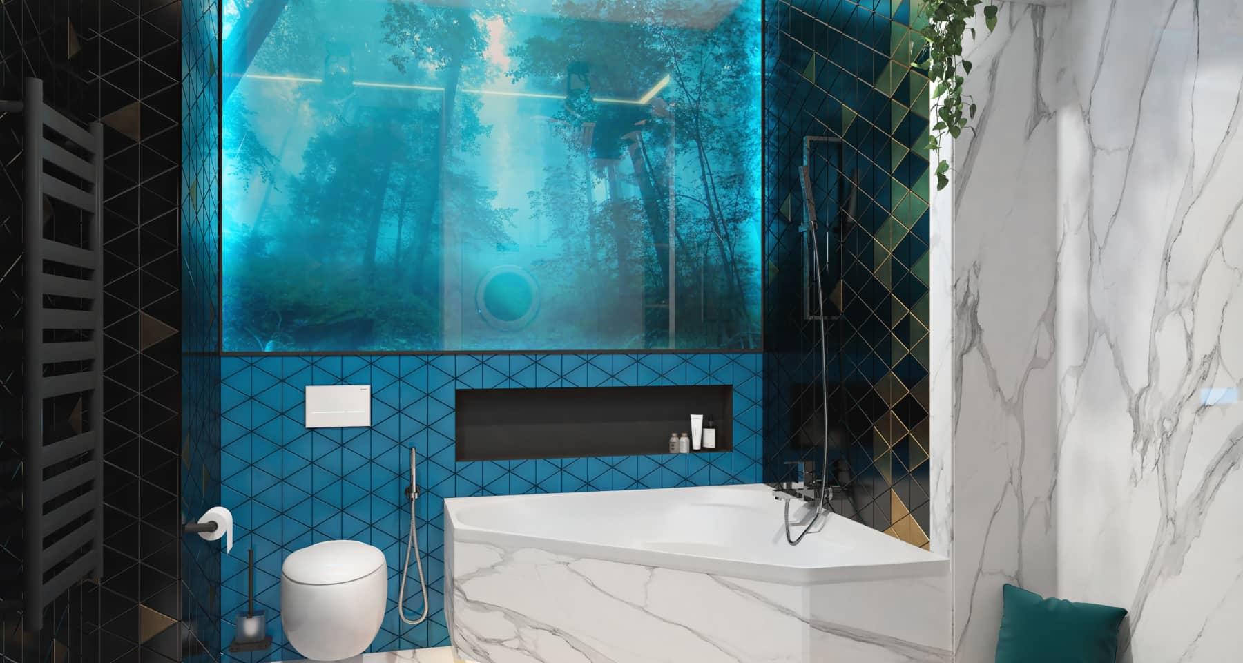 Красивый дизайн ванной с белым мрамором