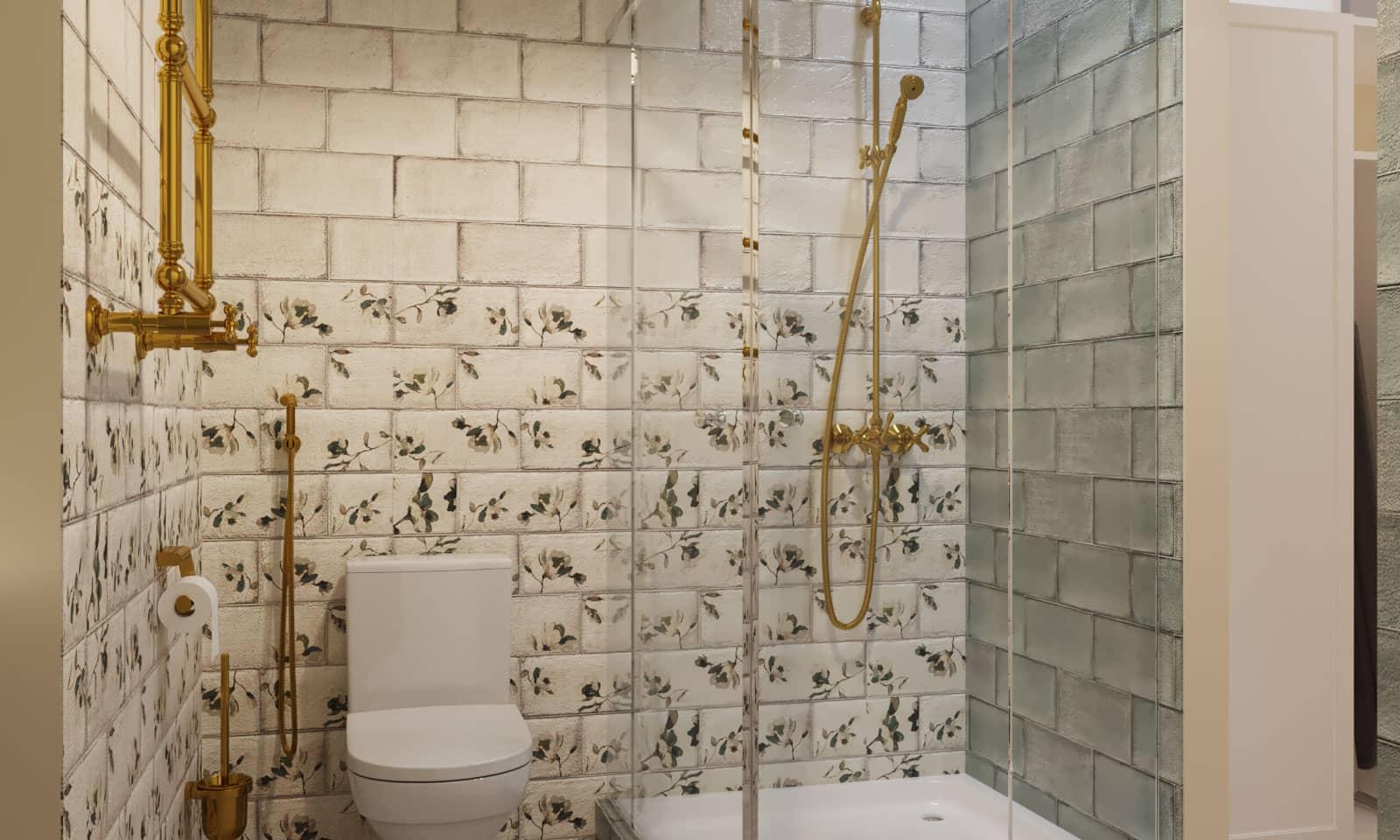 Интерьер маленькой ванной комнаты с кладовой
