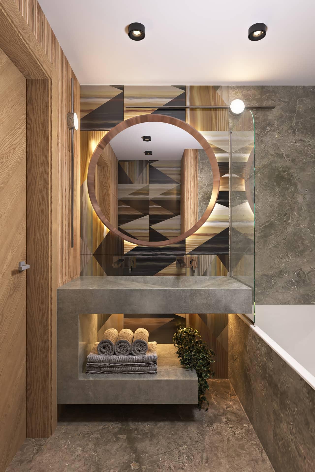 Геометрический рисунок плитки в ванной комнате