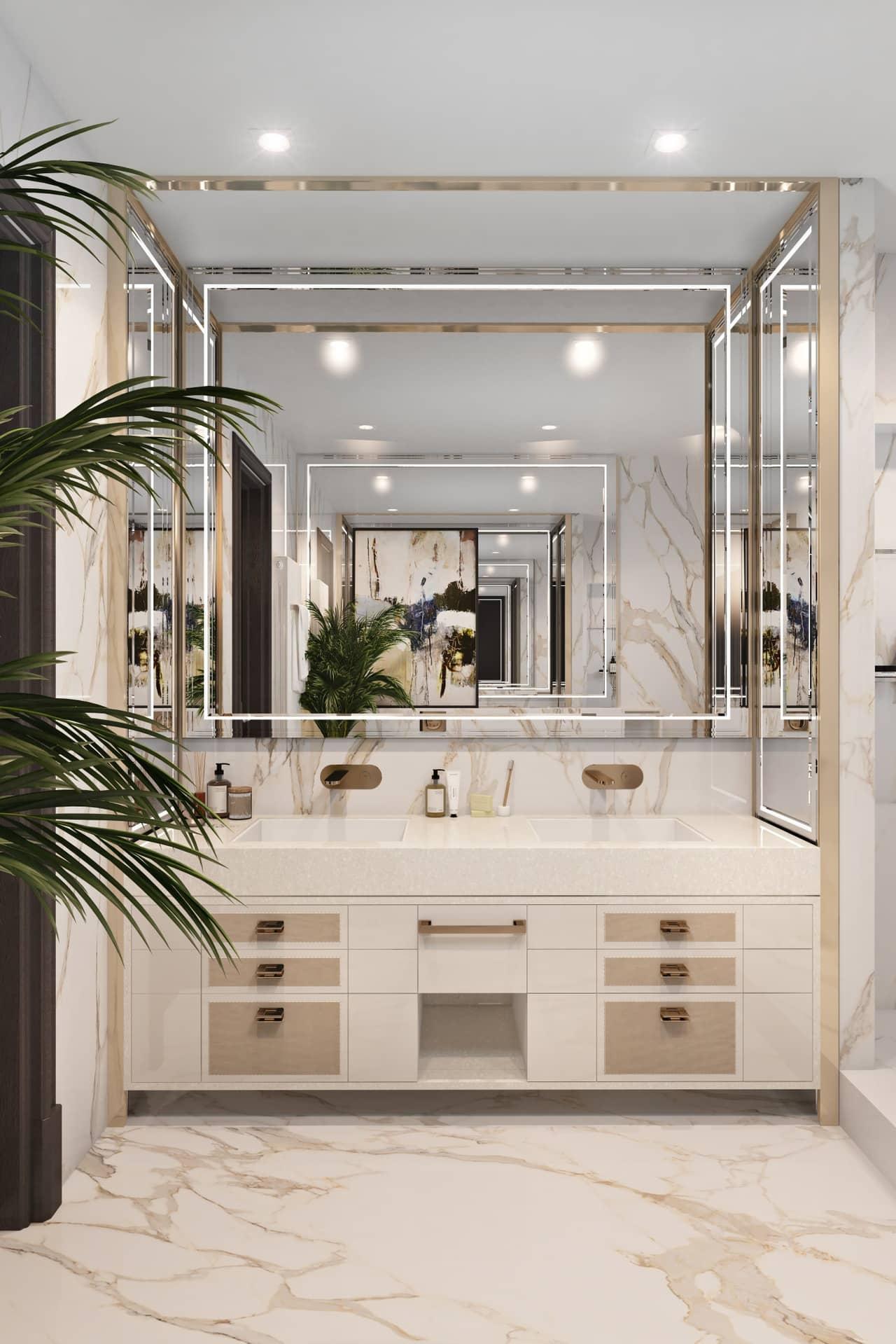 Дизайн красивой ванной в светлых тонах