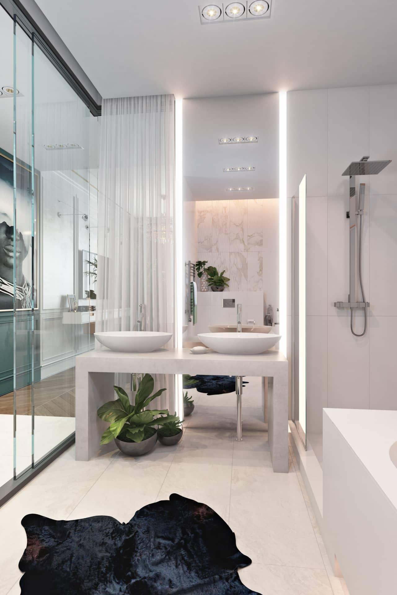 Идея оформления большой ванной при спальне