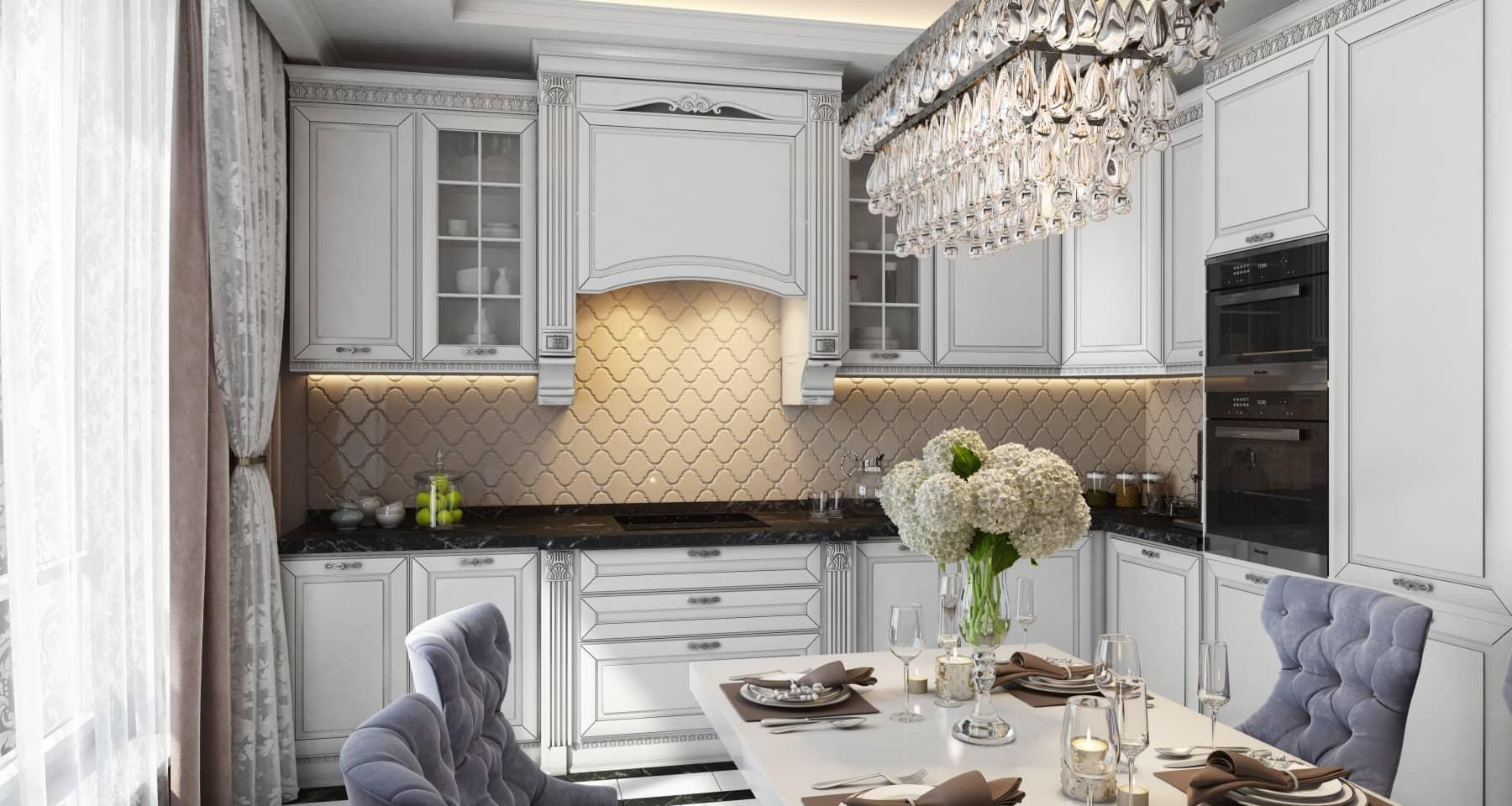 Интерьер кухни в стиле неоклассика в московской квартире