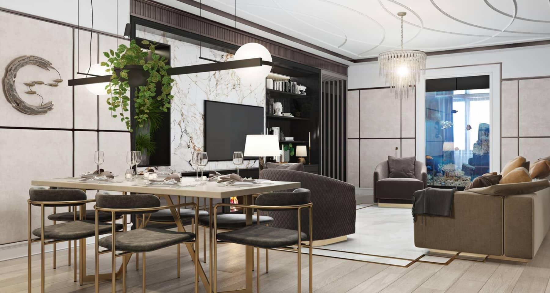 Студийное пространство квартиры в стиле современное ар-деко