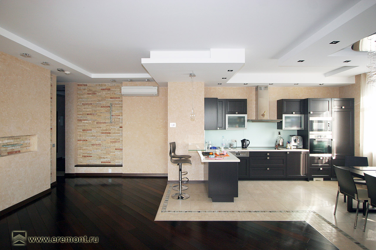Пол в кухне гостиной фото
