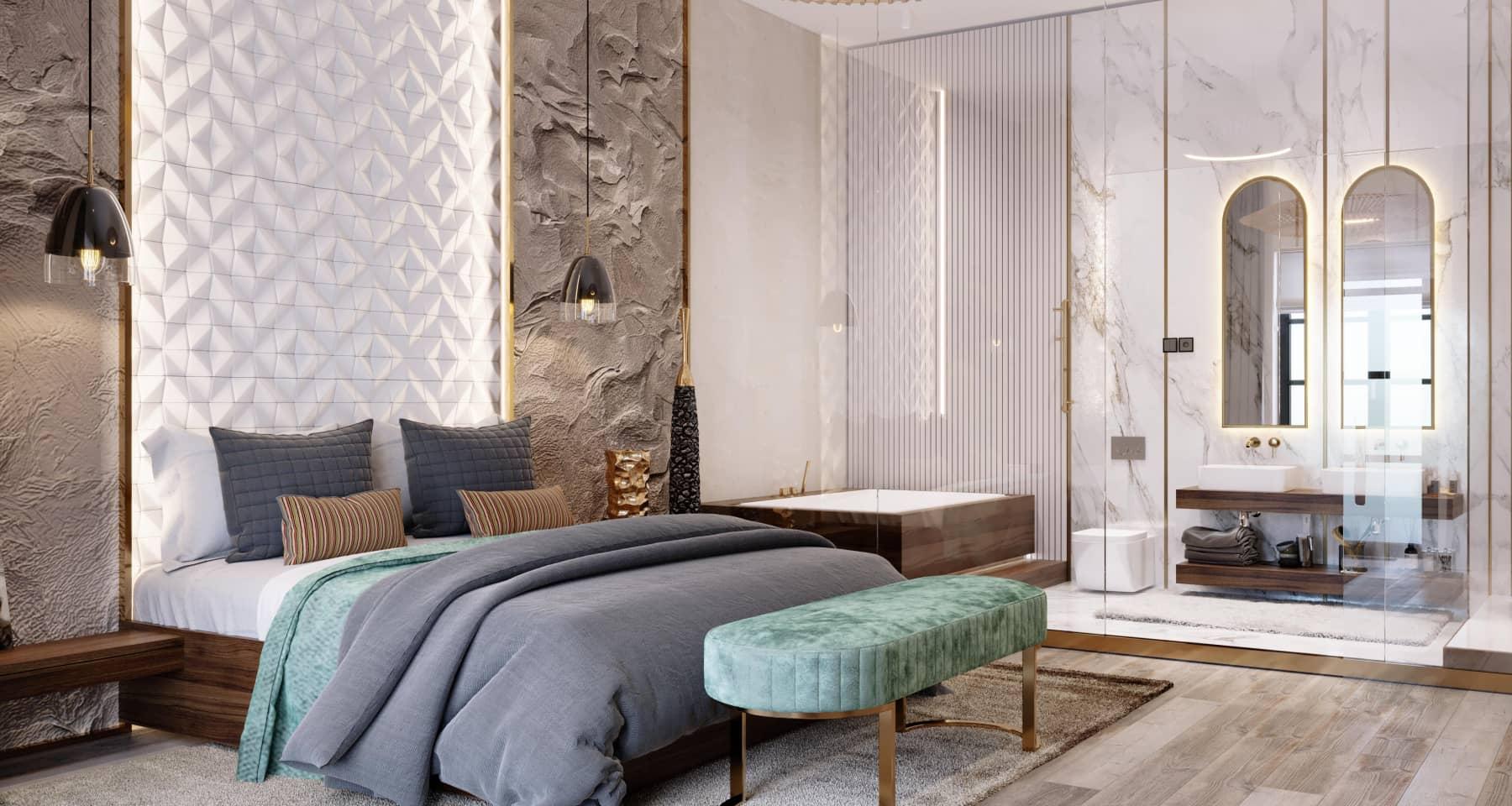 Дизайн ванной при спальне в стиле японский минимализм