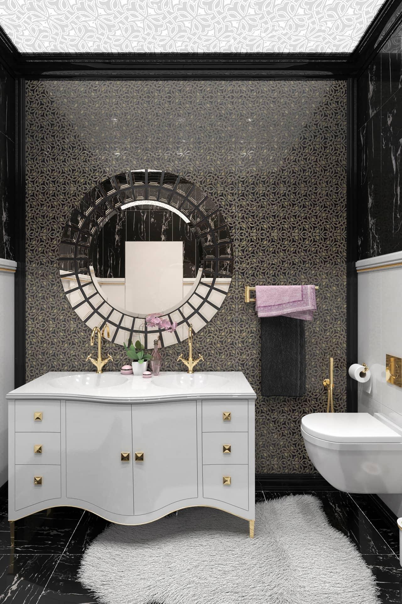 Дизайн ванной комнаты в стиле ар-деко