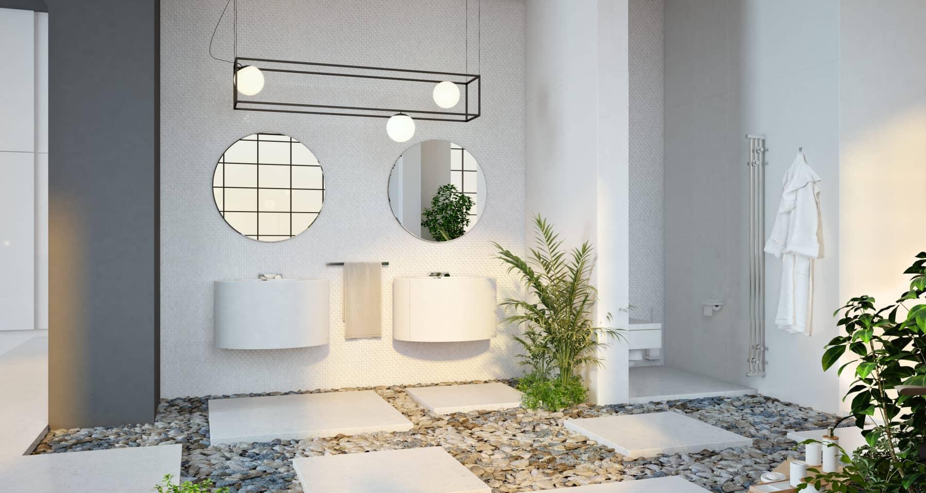 Идея оформления большой ванной комнаты