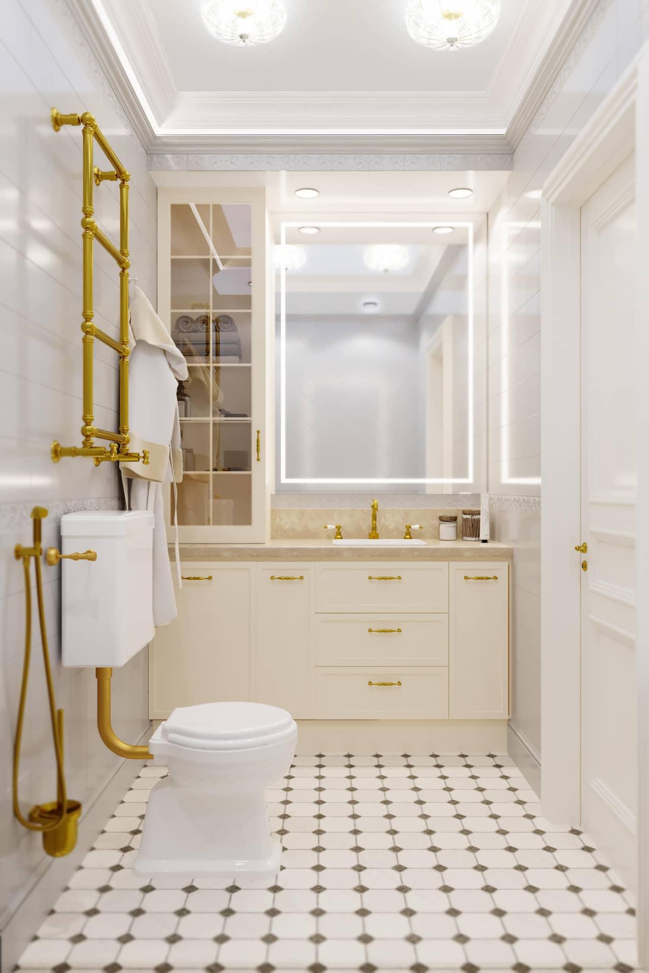 Идея дизайна маленькой ванной комнаты