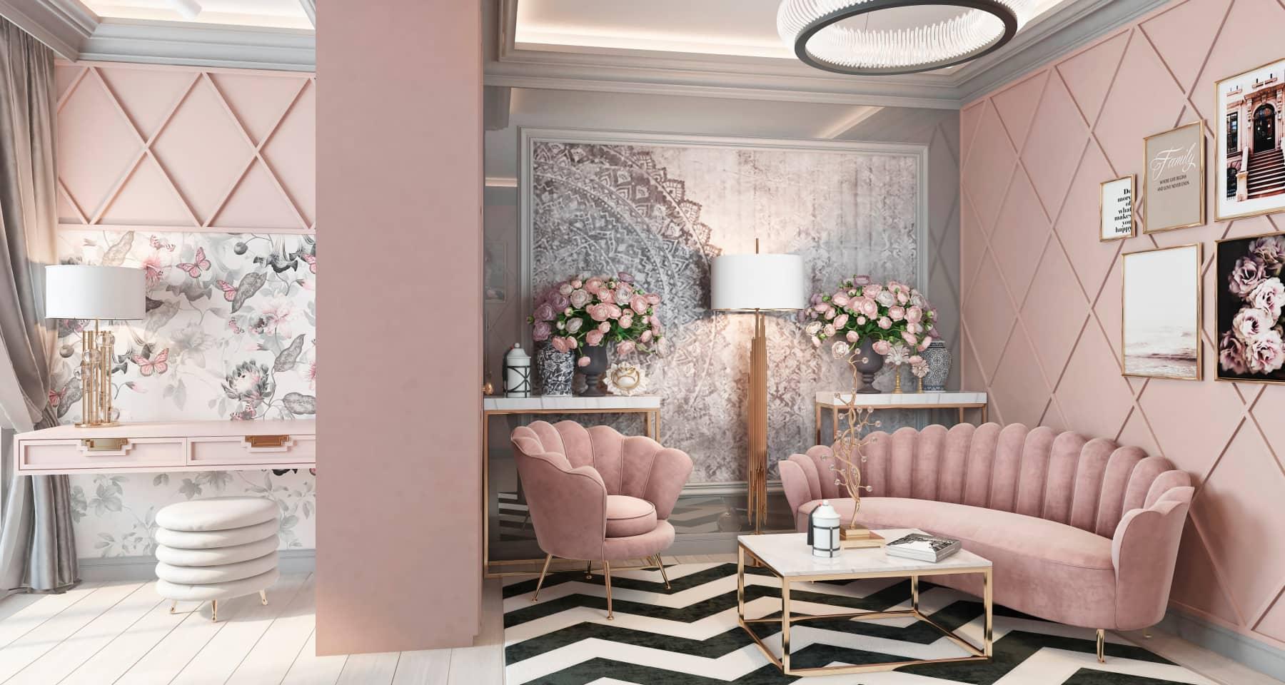 Дизайн-проект интерьера розовой детской комнаты для девочки