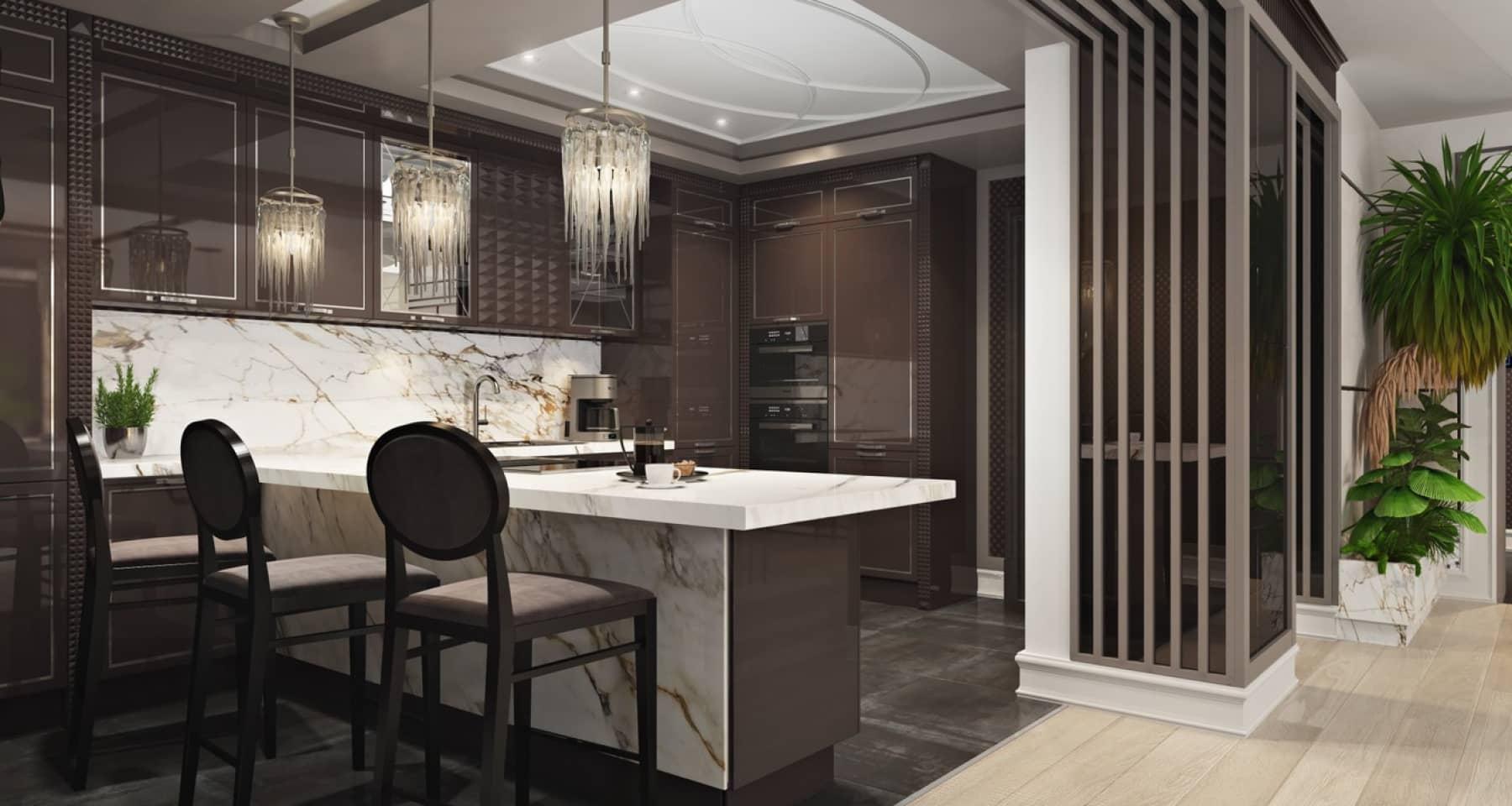 Дизайн-проект кухни в квартире на Новом Арбате (г. Москва)