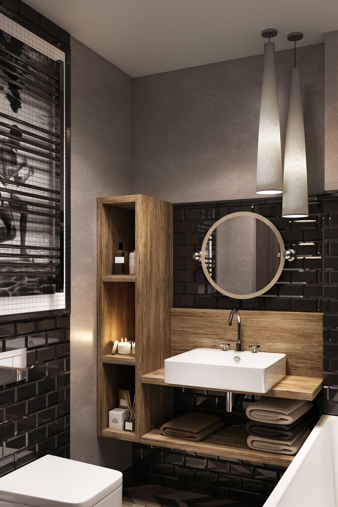 Модный дизайн ванной со стеллажом