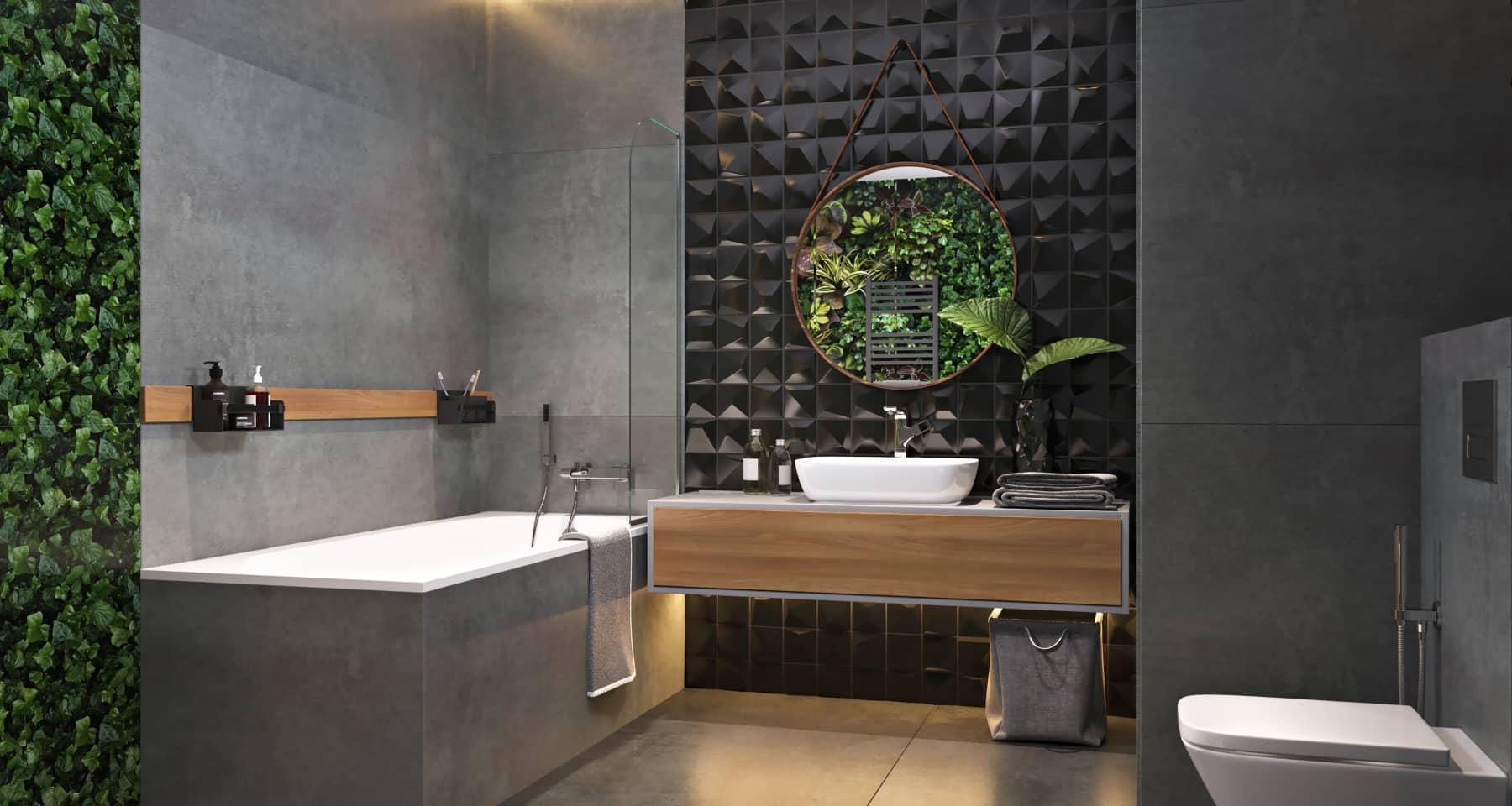 Идея дизайна ванной комнаты с фитостеной