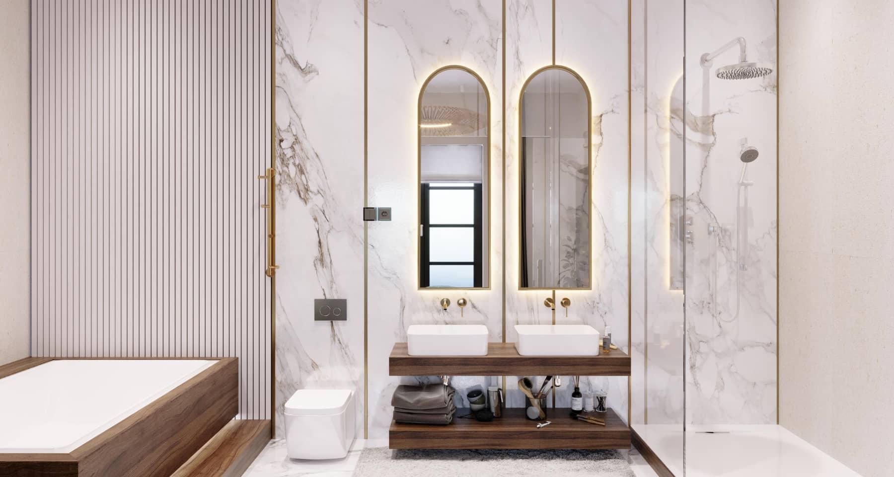 Дизайн ванной в стиле японский минимализм
