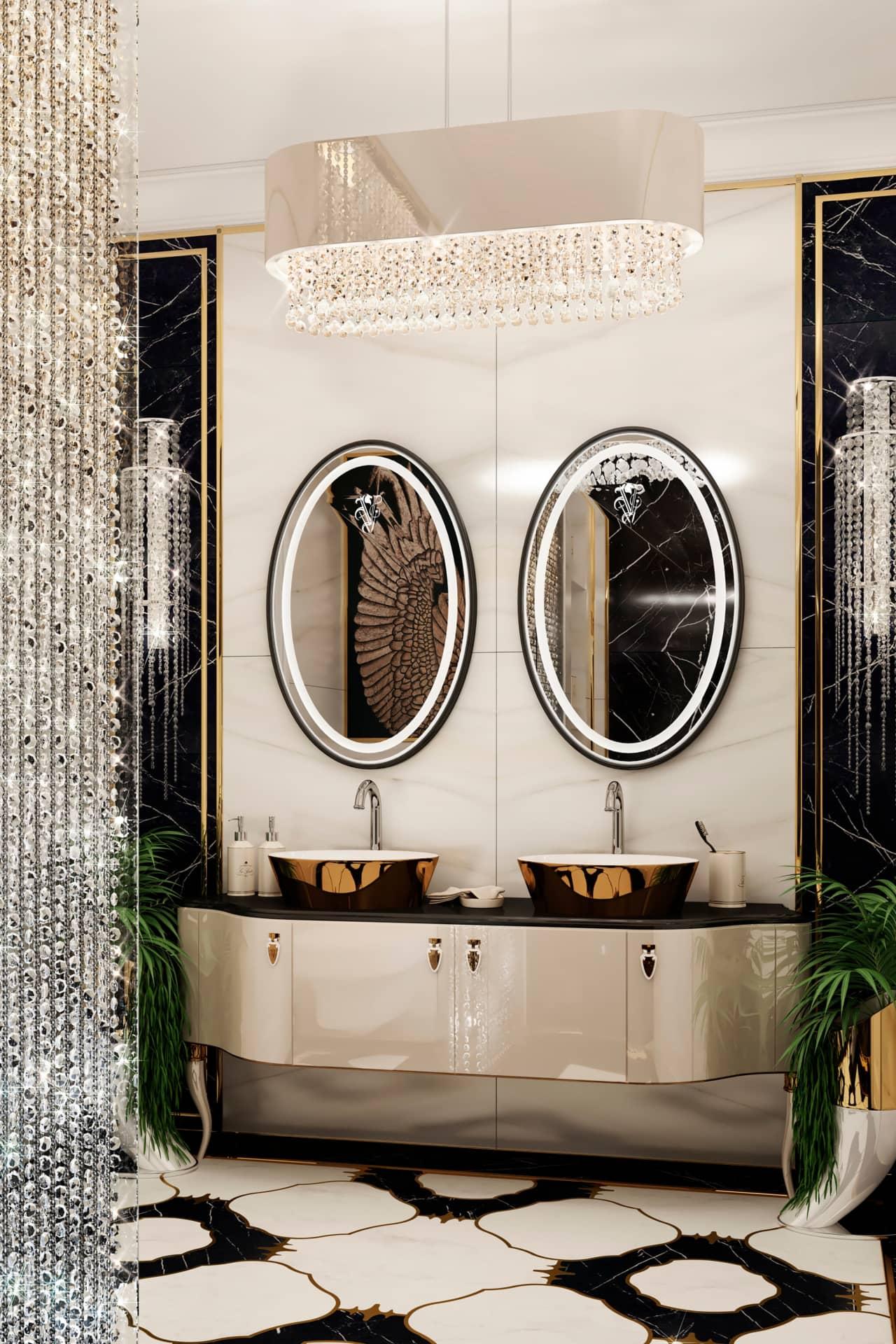 Ванная комната в стиле ар-деко в квартире в Москве