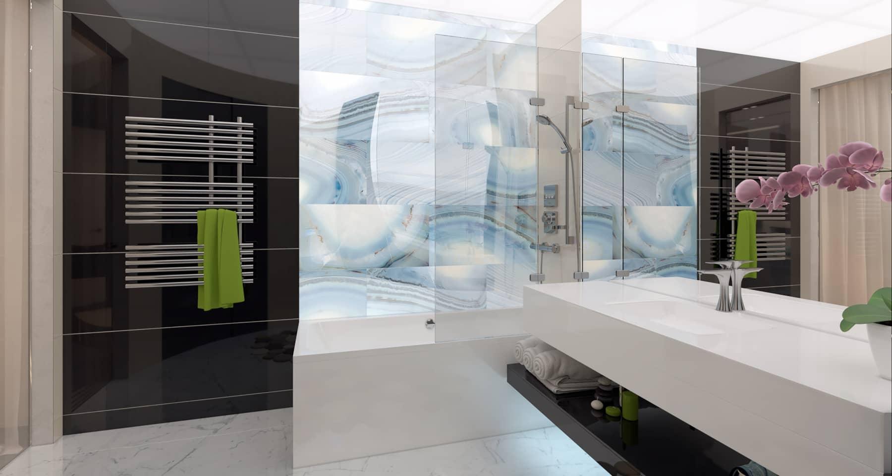 Идея дизайна большого санузла в квартире
