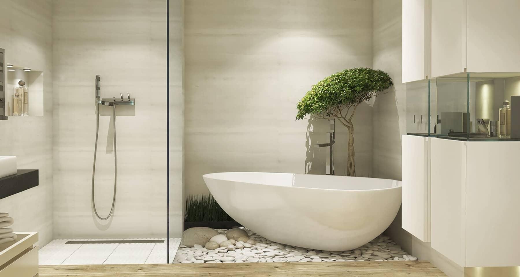 Ремонт большой ванной комнаты с тропическим душем