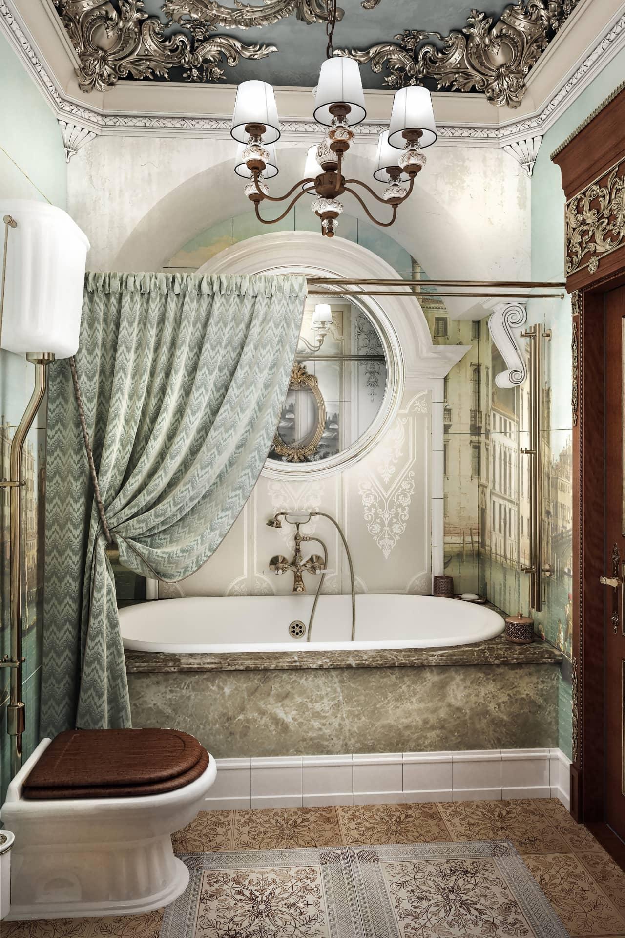 Дизайн красивой ванной в стиле классика