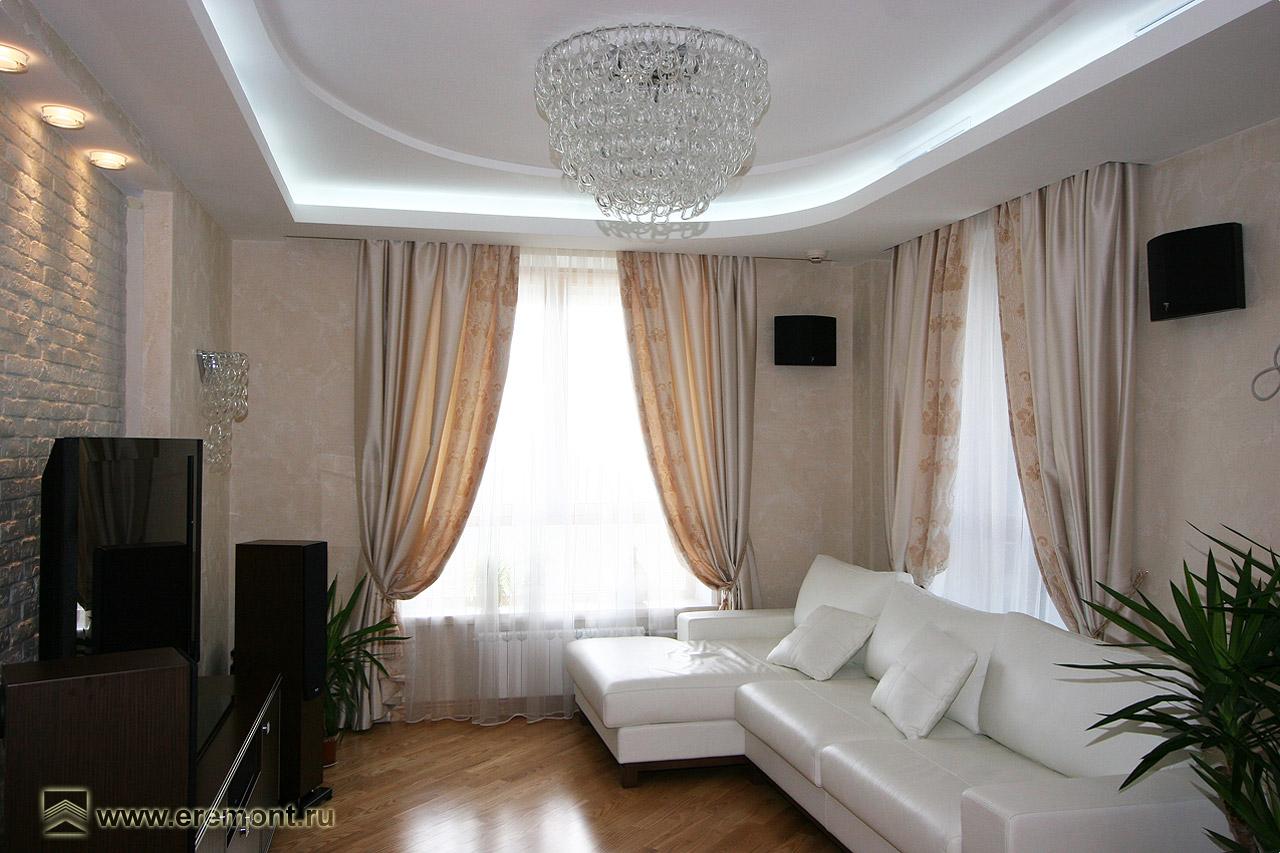 Дизайн зала 25 кв.м с двумя окнами